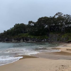 Rainy Day at the Beach | Stormy Weather Ocean Waves, Water Flowing & Rain Sounds for Sleeping Deeply