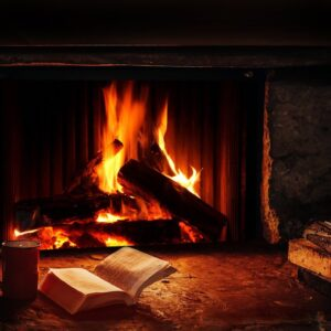 🔥 Cozy Log Cabin Fireplace | Crackling Fire Sounds w/ Snowstorm & Howling Wind Sounds, Winter Storm