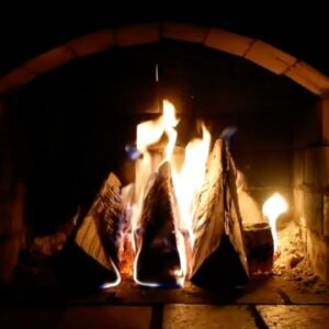 Fireplace Burning & Blizzard Snowstorm Sounds | Crackling Fire Sounds & Arctic Howling Wind Blowing
