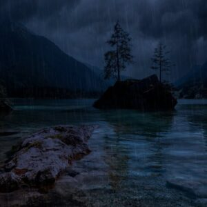 Night Rain on Lake Hintersee 4K | Gentle Rain Falling through leaves on Lake with Dimmed Screen