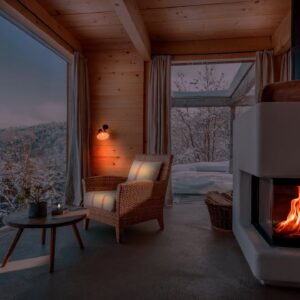 🔥 Crackling Fireplace w/ Winter Winds - 8K | Sounds for Relaxing and Sleeping - Cozy Chalet Ambience
