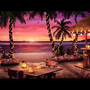 Hawaiian Sunset Cafe Ambience with Relaxing Hawaiian Guitar Music & Crashing Waves Sounds