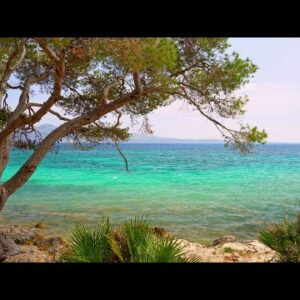 Formentor Beach Shoreline Ocean Waves 4K - Nature Scene w/ Water Sounds for Relaxing, Study, Spa
