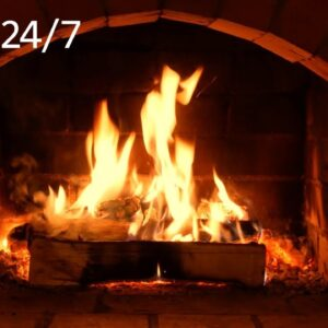 🔥 Crackling Fireplace, Fire Burning w/ Rain & Thunder Outside | Sounds for Sleeping, Relaxing