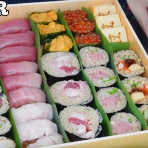 asmr bluefin tuna giant sushi box eating sounds no talking sas asmr