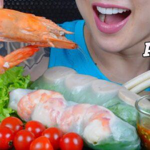 asmr giant prawn salad roll fresh veggies seafood sauce eating sounds no talking sas asmr