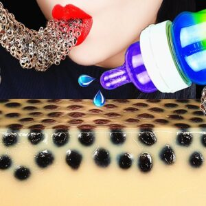 asmr rainbow baby bottle boba tea jelly edible frog egg honey jelly eating drinking sounds eba8b9ebb0a9 abbey