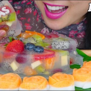 asmr thai jello fruit cake soft eating sounds no talking sas asmr