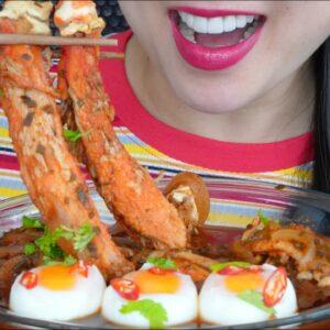 eating seafood boil king crab enoki mushrooms soft boil eggs asmr sounds no talking sas asmr