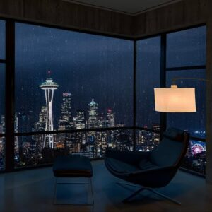 Rain on Window with Thunder Sounds in Seattle 8K | High Quality Rainstorm Atmosphere for Sleeping
