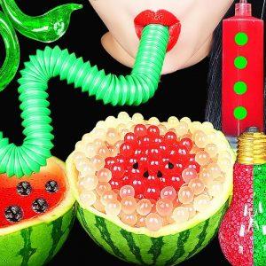 asmr drinking sounds ec8ba0eab8b0ed959c ebacbc eba8b9ebb0a9 pop tube edible frog eggs watermelon jello shooter boba eating sounds