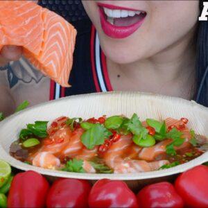 asmr spicy thai salmon salad fresh veggies eating sound no talking sas asmr