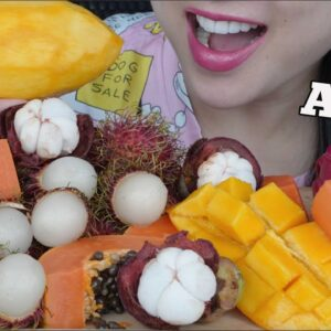 asmr tropical fruit platter eating sounds no talking sas asmr