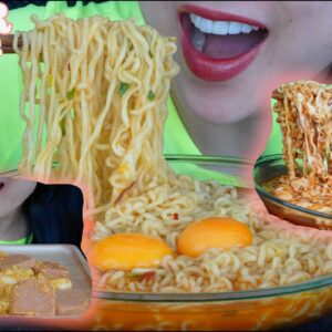 eating cheesy rice cake cheesy noodle spicy noodle soup all day asmr sounds no talking sas asmr