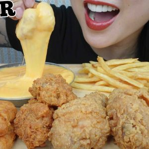 asmr fried chicken chicken nuggets cheese sauce eating sounds no talking sas asmr